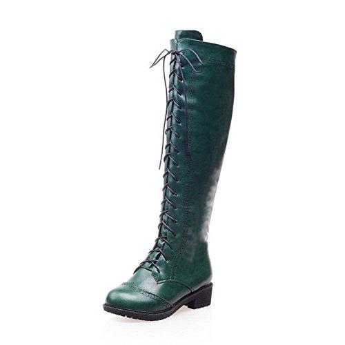 VogueZone009 Damen Niedriger Absatz Blend-Materialien Knie Hohe Stiefel Grün