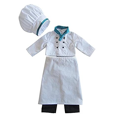 Farvision Girl® White Chef Uniform Oufits for 18 inch Dolls 6 Pc/Set Included Doll Hat, Doll Scarf,Doll Baker's Jacket,White Long Dress, Pants & Doll Shoes for your Top