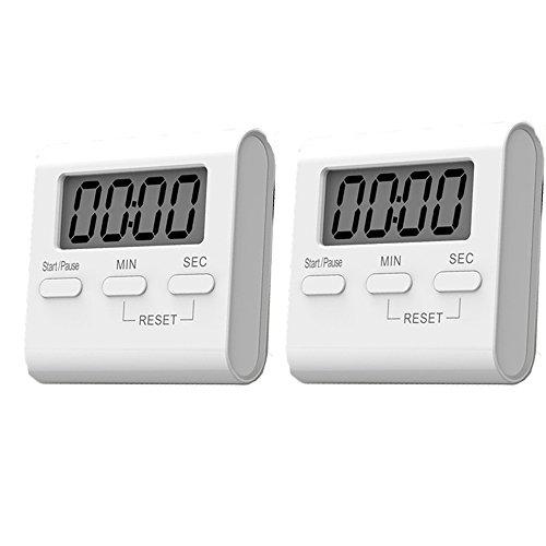 [2 Stück]Elektronischer Timer mit Stoppuhr, 99 Minuten&59 Sekunden Digital Timer mit Magnet und Ständer, Digital-Countdown und Lauter Alarm Küchen-Timer Küchentimer mit großes LCD Display und Alarm laut Ring Timer