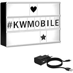 kwmobile Boite lumineuse LED A6 - Caisson cinéma 126 lettres noires symboles - Petit panneau lightbox avec prise micro USB et support magnétique