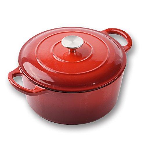 Küpfanche Pentola da Cucina in ghisa, Rotonda, con Coperchio, 23 cm, con Coperchio smaltato Nero Opaco, 3,8 l, Rosso