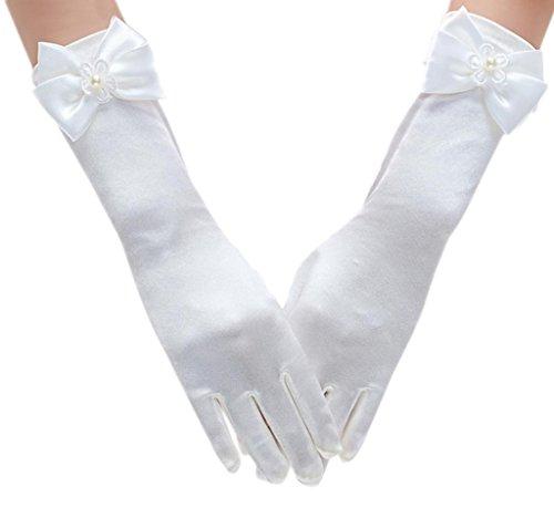Eozy Mädchen Kommunion Handschuhe Hochzeit Blumenmädchen (Länge28cm, Weiß)