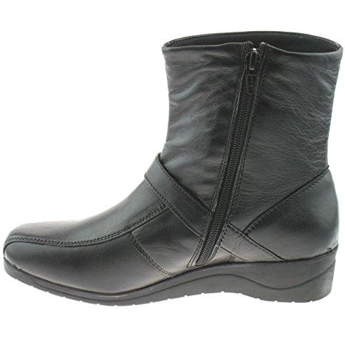 Damen Stiefel mit Reißverschluss, Schwarz Schwarz