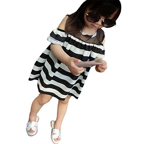 Größe Kleidung 6 Sommer Mädchen (Für 3 bis 7 Jahre Altes Mädchen Vovotrade Sommer Kinder Baby Mädchen Off Schulter Kleid Chiffon Streifen Kleid Kleidung (Größe: 6 Jahre alt))