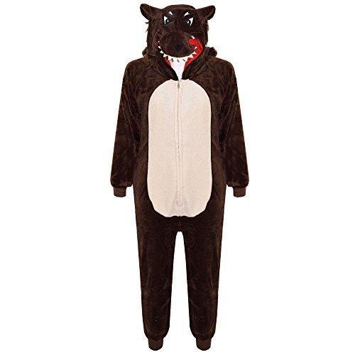 A2Z 4 Kids® Kinder Mädchen Jungen Weich Flaumiger Tier Strampelanzug - E.S Wolf 11-12 (Wolf Lady Kostüm)