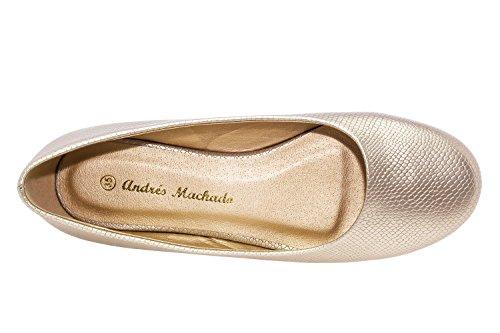Andres Machado.AM539.Ballerines Classiques.Pour Femmes.Grandes Pointures du 42 au 46. GrabadoOro.N