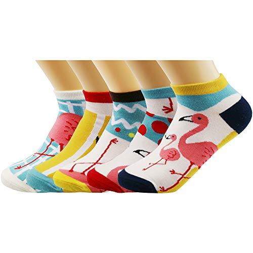 Thmyo 5 Pairs Womens Cotton Lässige bequeme Funky Socken (No Show Low Cut Flamingo Socken)