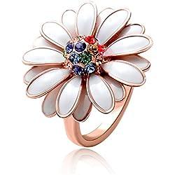 Oro Rose plate¨® el anillo de la margarita blanco rom¨¢ntico con Gem colorido, tama?o 8
