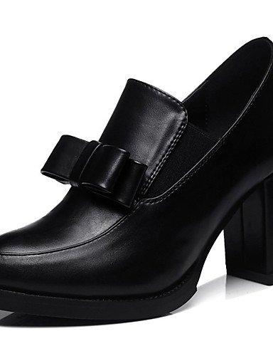 WSS 2016 Chaussures synthétique de bureau talons printemps / automne / hiver talons des femmes&carrière / casual gros talon fendu joint noir / black-us8.5 / eu39 / uk6.5 / cn40