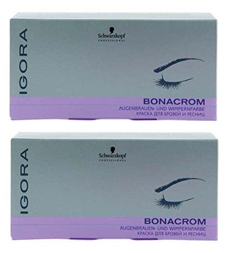 Schwarzkopf Igora Bonacrom Set schwarz 2 x (15 ml Farbe + 10 ml Entwickler) Augenbrauen-Wimpernfarbe