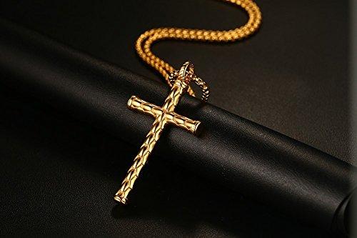 Lekima Bijoux Collier Pendentif Croix Religieuse Punk Rock Chaîne Acier Inoxydable Fantaisie Homme Femme Cadeau Or