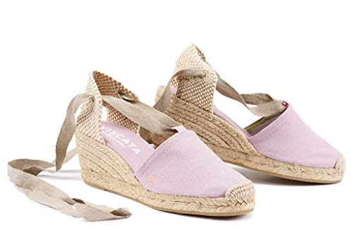 VISCATA Ebene 2.5 Heel, Soft Ankle-Tie, Closed Toe, Classic Espadrilles Heel Made in Spain, Rosa - 42 EU Designer Sandalen