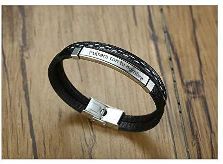 Imagen de recontramago pulsera grabada personalizada para hombre y mujer  grabado en diamante  pulseras personalizables de acero inoxidable y cuero regalo nombre plateado, 21
