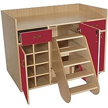 mobeduc 3puertas muebles para cambiar pañales con medidas, madera, color rojo, 120x 91x 70cm