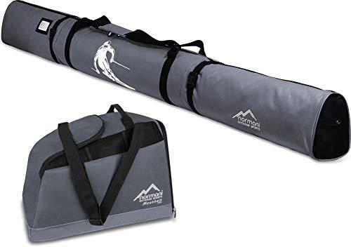 normani Skiset Kombi-Set Skisack 170 cm und 200 cm und Skischuhtasche für 1 Paar Ski + Stöcke + Schuhe + Helm + Accessoires Farbe Anthrazit Größe 45 Liter / 170 cm