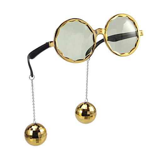 BESTOYARD Party Sonnenbrille mit Hängende Disco Ball Neuheit Lustige Brillen für Halloween Maskerade Party Requisiten (Golden)