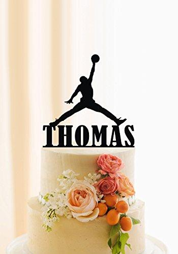 qidushop Basketball Tortenaufsatz für Jungen Birthday Cake Topper Namen Personalisierte Basketball Thema Kuchen Decor Basketball Kuchen Topper Für Herren