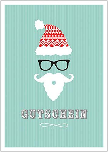 Erhältlich im 1er 4er 8er Set: Lustiger Weihnachts Gutschein im Hipster Retro Weihnachtsmann Nikolaus-Style Klappgrußkarte Weihnachtskarte mit Mütze, Brille, Bart in Türkis (Mit Umschlag) (1)