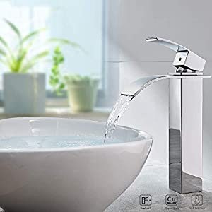 Auralum® de latón cromado grifo grifo cascada Monomando para baño Cocina
