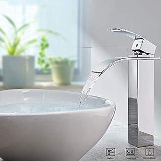 Auralum – Grifo monomando de cascada para baño o cocina, latón cromado