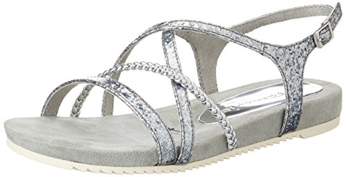 Tamaris Damen 28106 Offene Sandalen mit Keilabsatz, Silber (Silver Struct. 927), 37 EU