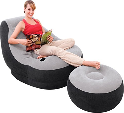 Intex aufblasbarer Loungesessel mit Fußhocker für Camping und Chillout