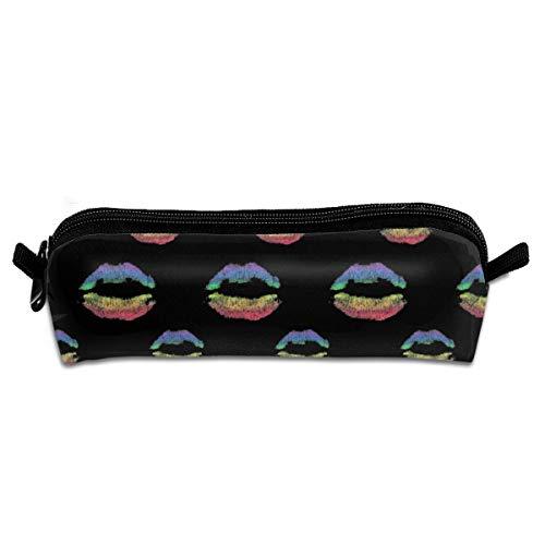 Gay Homosexual Lesbian Rainbow Lips Pride Pencil Case Pen Bag Pouch Stationary Case Makeup Cosmetic Bag (Lip Beste Pencil)