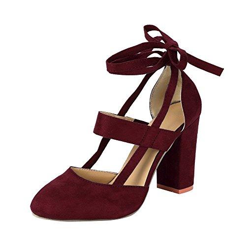 Minetom Damen Einfache Knöchel Riemchen Sandalen Schnüren Sich High Heels Party Chunky Pumps Stiefel Sandaletten Weinrot EU 39