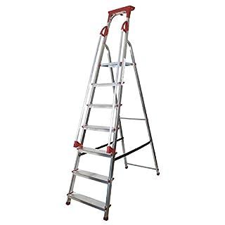 Abbey Aluminium Safety Platform Step Ladder With Handrail & Tool Tray 7 Tread