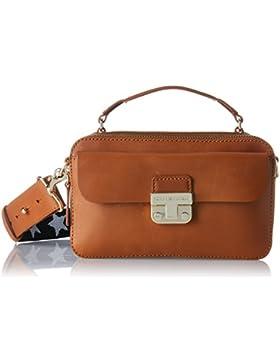 Tommy Hilfiger Damen Fashion Hardware Leather Mini Crossover Umhängetasche, Braun (Cognac), 6 x 13 x 17 cm