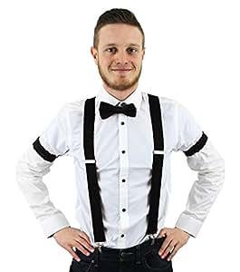 Accessoires de croupier vintage noir avec les bretelles + le nœud papillon + le tour de bras. Ideal pour les soirées à thème.