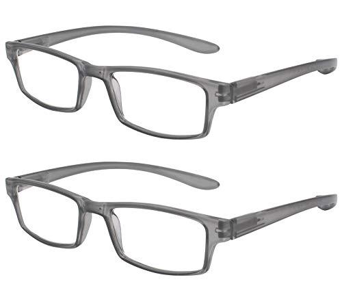 TBOC Gafas de Lectura Presbicia Vista Cansada - (Pack 2 Unidades) Graduadas +2.50 Dioptrías Montura de Pasta Gris Patillas Extra Largas Colgar Cuello Hombre Mujer Unisex de Aumento Leer Ver Cerca