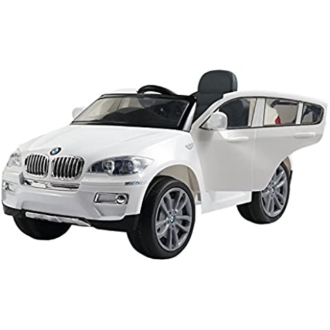 2014 New BMW X6 Licensed Kids Ride on 12V Twin Motors Electric Car + parental remote control + open able door + battery capacity indicator + LED Lights + mp3 input + music volume control, available in colour White, Black, Blue and Red (White) by Rideontoys4u