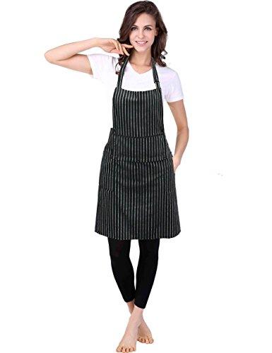 WM Beauty Chef Works Kreide Streifen Lätzchen Schürze Mit Taschen, verstellbares Umhängeband, 28x 26, 100% Baumwolle, Schwarz, baumwolle, Black/White Chalk Stripe, 28 X 28 inches Pocket-kreide