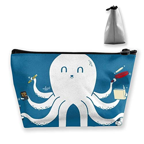 Trousse de maquillage Cosmetic Octopus Animal Queue Forme Portable Sac à cosmétiques Sac de rangement trapézoïdal mobile Sacs de voyage avec fermeture à glissière