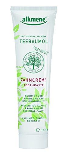 alkmene Zahncreme, Zahnpasta mit Fluorid, Teebaumöl & Allantoin, Zahnpaste, vegan, 6er Pack (6 x 100 g) (Teebaum Öl Mundwasser)