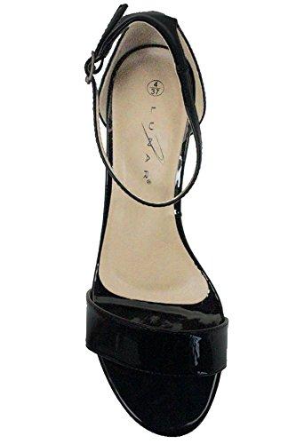 Fantasia Boutique jlh845 Jilly femmes verni imprimé motif SERPENT boucle bride cheville M à talon Sandales Noir