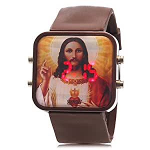 Unisex Jesus Pattern Red LED Digital Silicone Band Wrist Watch (Assorted Colors)