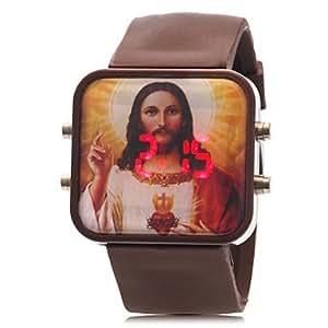 HE SHOP Unisexe Modèle Jésus LED rouge numérique de bande de silicone de montre-bracelet (couleurs assorties) , Blanc