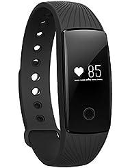 moreFit H6 moniteur de fréquence cardiaque Fitness Tracker, bracelet sans fil Bluetooth montre Smart Watch santé pour les cadeaux de Noël XMAS