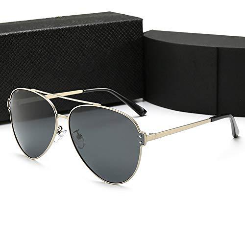WULE-Sunglasses Unisex Klassische Pilot Sonnenbrille for Männer Mode Angeln Fahren polarisierte Sonnenbrille, (Farbe : Gold Frame/Black)