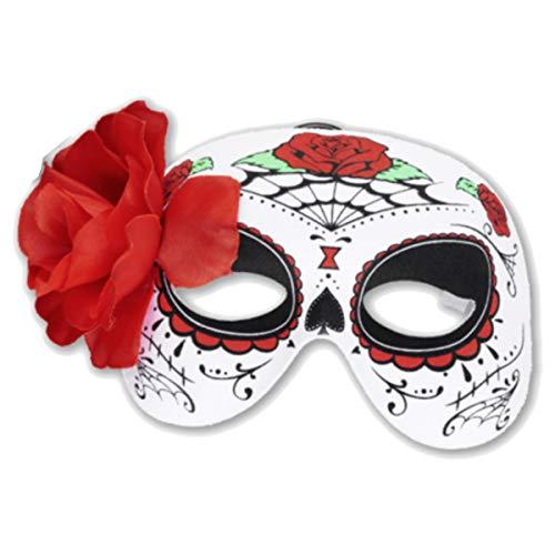 kaiser24 Mexikanische Totenmaske La Catrina Halbmaske Halloween Sugar Skull Tag der Toten Day of The Dead Dia de los Muertos Calavera (Halbmaske Blume (geprintet) (3299056)) (Dia De Los Muertos Mann Kostüm)