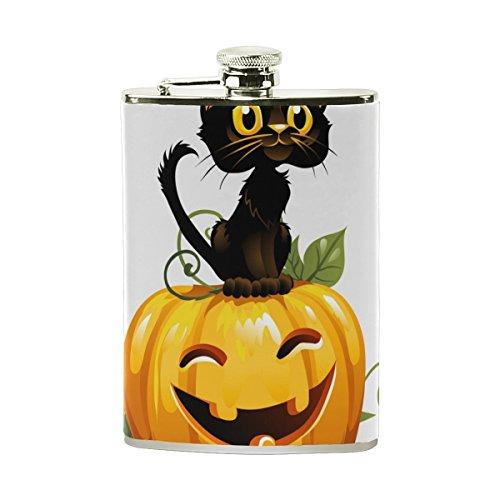 Tizorax Noir Chat sur citrouille d'Halloween en acier inoxydable Flasque, poche Pichet, le camping, Pot de vin, cadeau pour homme ou femme, 226,8gram (Le Chat Dhalloween)