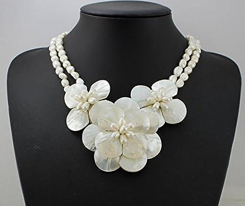 Natürliche weiße Süßwasser Perlenkette- Muschel Halskette -Choker Halskette (Halskette Weiß Shell Halskette)