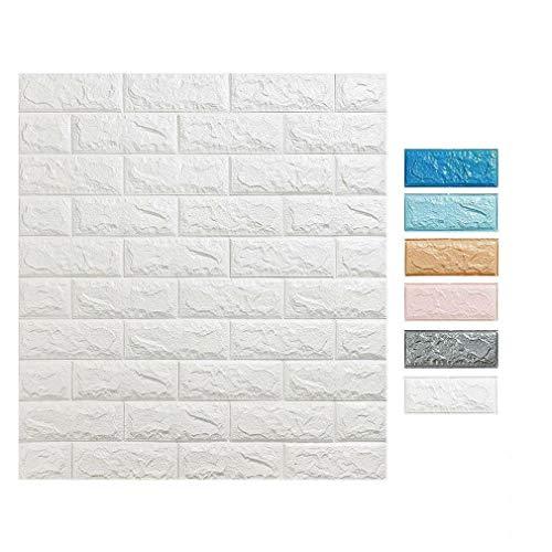 3D Tapete Wandpaneele selbstklebend - Moderne Wandverkleidung in Steinoptik in 6 verschiedenen Farben - schnelle & leichte Montage (10x Stück, Rosa) (Stein-fliesen-tapete)