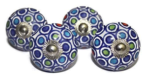 Multi Color diseño de lunares pomo de cerámica color blanco Base pintada a mano armario Knob armarios y aparador cajones pomo–Juego de 4pomos (ohk0077)