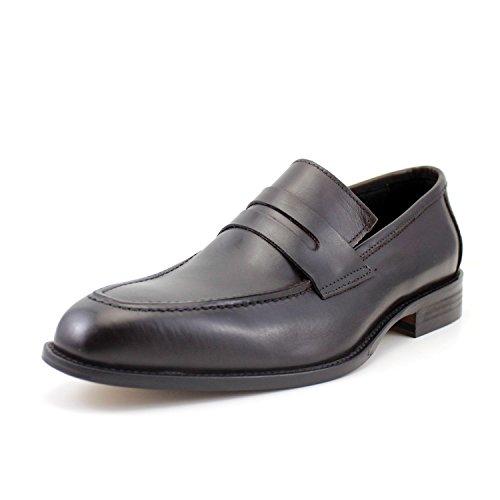 Giorgio rea scarpe uomo mocassini uomo fatti a mano in italia classici penny loafers marroni eleganti vera pelle comodi (40, testa di moro)