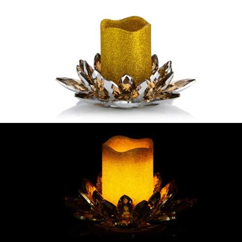 Kerzenhalter aus Kristallglas inkl. LED Echtwachskerze mit Timer - Für Stumpenkerzen (Gold mit Gold Kerze)