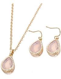 YAZILIND joyas conjunto de moda chapado en oro colgante Waterdrop forma de diamantes de imitacion cubic zirconia cadena collar ganchos piercing pendientes luz rosa para mujeres ninas