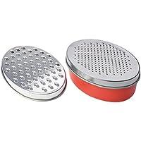 BESTONZON Multifunktionale Reibe Käsereibe Edelstahl Obst Gemüse Reibe Zester mit Vorratsbehälter (rot)